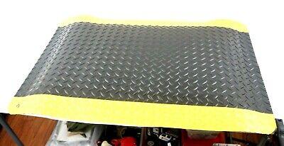 Wearwell 497 Anti Fatigue Mat, Diamond Plate Black,Yellow Border, 2' X 3' New