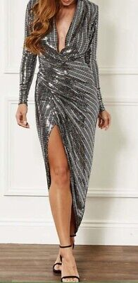 Formal ball gown prom evening cocktail party dress in silver sequins size 16