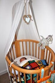 Stokke Crib and Sleepi Cot with Canopy Beech ++ lots of STOKKE Bedding