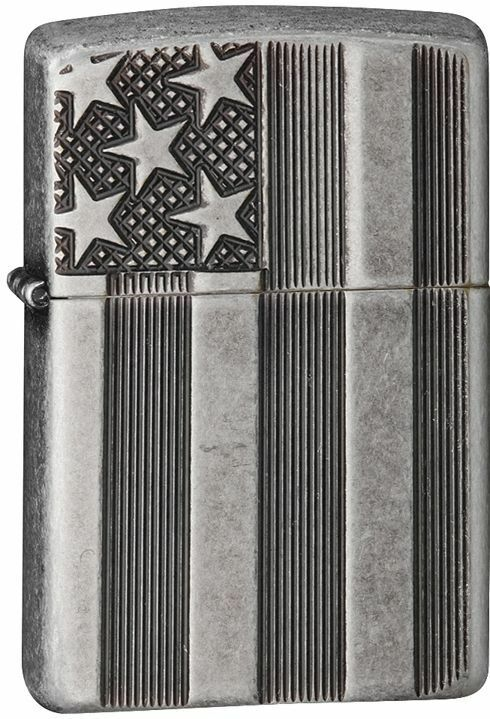 Zippo Armor Windproof Antique SIlver Plate Deep Cut Flag, 28974, New In Box