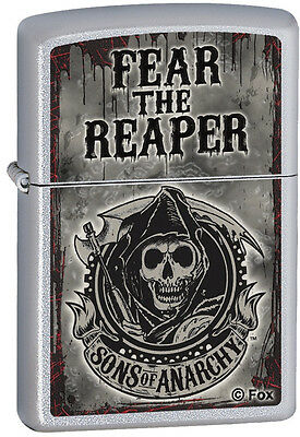 Zippo Sons of Anarchy SAMCRO Fear The Reaper Chrome Windproof Lighter 28502 NEW