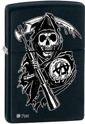 Zippo Sons of Anarchy SAMCRO Reaper Black Matte Windproof Lighter 28504 NEW