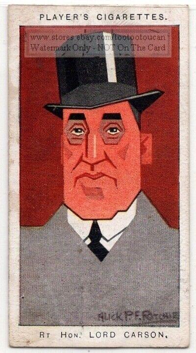 Edward Carson Irish Unionist Politician Dublin Parliment 1920s Trade Ad Card