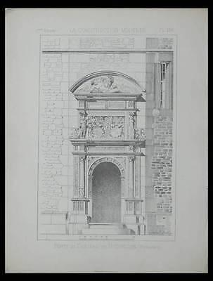 NEUENSTEIN, CHATEAU SCHLOSS - 1886 - PLANCHE ARCHITECTURE - PORTE