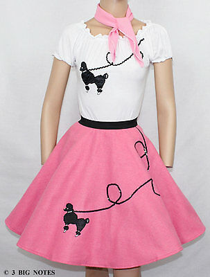 3 PC HOT PINK 50's Poodle Skirt outfit Girl Youth Sizes 10,11,12,13 W 25