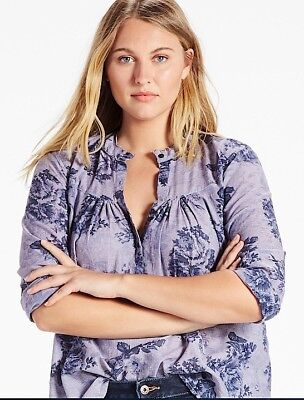 NWT $89.50 Lucky Brand Cotton Floral Chambray Shirt 2X