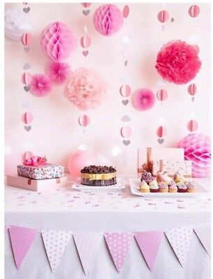 Party Decoration Set Pink and White Baby Shower Birthday Girls - Pink And White Baby Shower