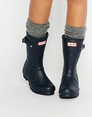 NEW Womens Black Matte HUNTER Short Original RAIN Waterproof  BOOTS  Size 8