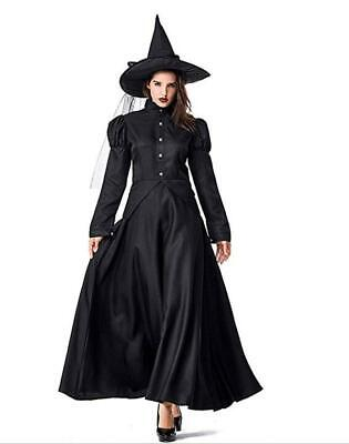 GRACIN Women's Wicked Witch Costume, 4 Pieces Halloween Deluxe Witchy Dress Blac