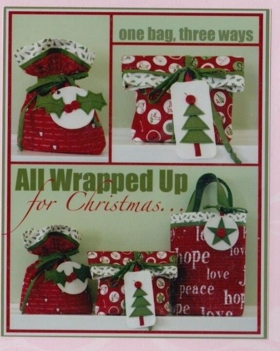 PATTERN - All Wrapped Up for Christmas - gift bags PATTERN b