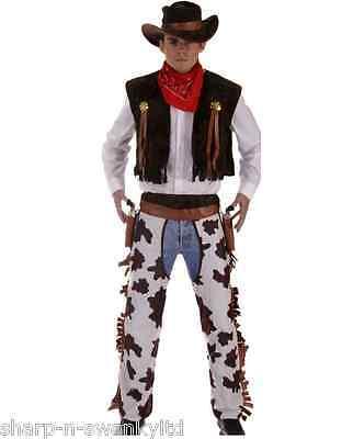 4 PEZZO Uomo Wild West Cowboy Sceriffo Costume da festa vestito Standard & XL
