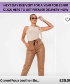 Two pairs of faux leather joggers.