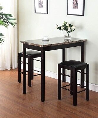 Small Table And Chairs Bistro Counter 2 Stools Hardwood 3 Piece Kitchen Prep Set ()
