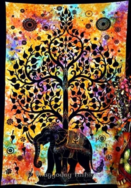 Indian Psychedelic Celestial Elephant Tree Of Life Tapestry ,Good Luck Hand Tie