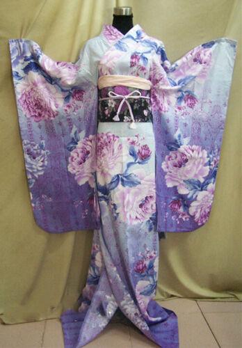 Japanese Women Purple Floral Traditional Long Furisode Kimono Cosplay Costume
