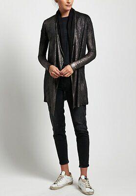 Avant Toi Cashmere Silk Metallic Lightweight Cardigan Nero Silver Shawl Collar L