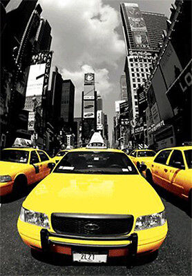 3D Lenticular Poster - NEW YORK CITY CABS - 11x17 -