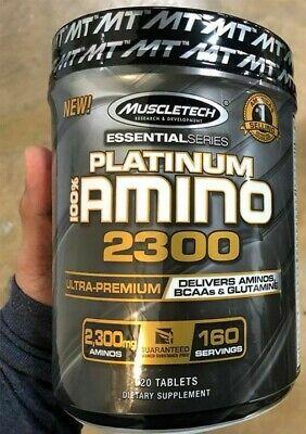 MuscleTech Platinum 100% AMINO 2300 Aminos BCAAs Glutamine 320 Tabs, 160 Serves
