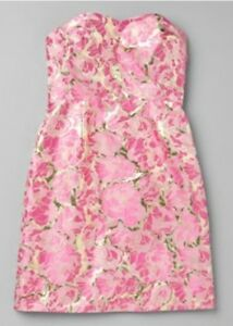 NEW-Lilly-Pulitzer-Raya-Metallic-Cocktail-strapless-Dress-0-2-4-6-8-328
