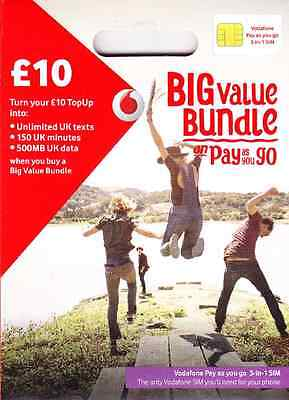 Uk Vodafone Official Pay As You Go Sim Card With  30  3 In 1 Sim For All Phones