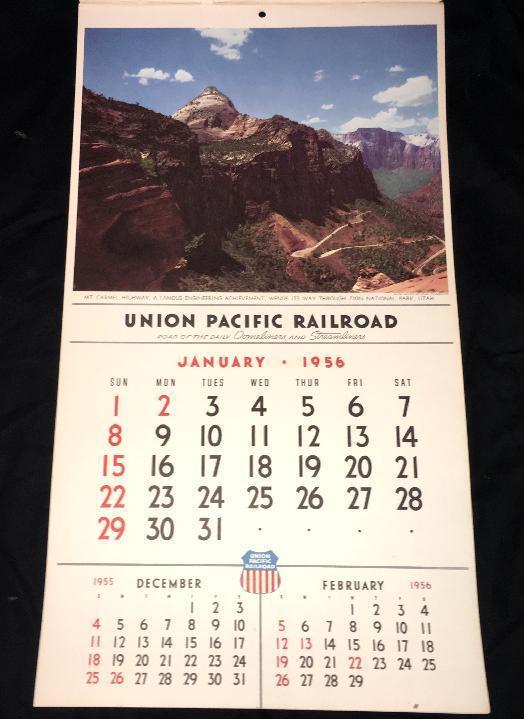 1956  UNION PACIFIC RAILROAD PAPER WALL CALENDAR  DOMELINER LOS ANGELES  VINTAGE