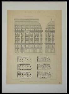 PARIS, 108-110 AVENUE KLEBER -1895 -2 GRANDES LITHOGRAPHIES- RIVES, ARCHITECTURE - France - Thme: Architecture Période: XIXme et avant - France