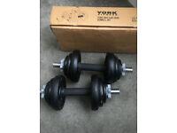 York dumbbells 20kg cast iron