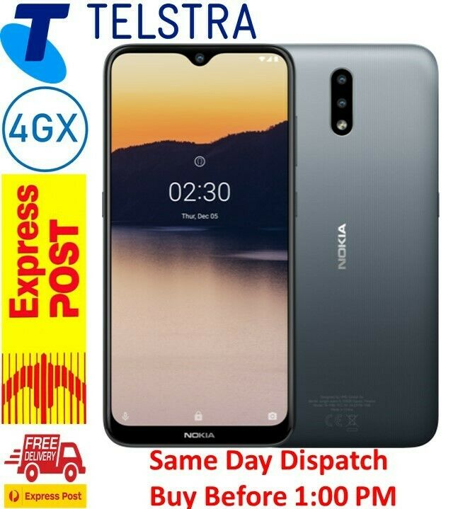 """Android Phone - Telstra Nokia 2.3 (4GX, 32GB/2GB 6.2"""" Android 10)  Charcoal  AU STOCK"""