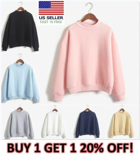 Women Tops Sweatshirt Casual Long Sleeve Plain Pullover  Ladies Mock Neck