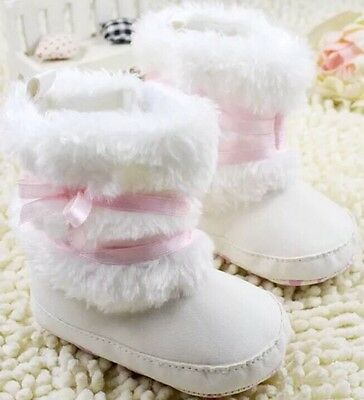 0-6 Months Infant Baby Girls Soft Winter White Pink Crib Boots Shoes Newborn