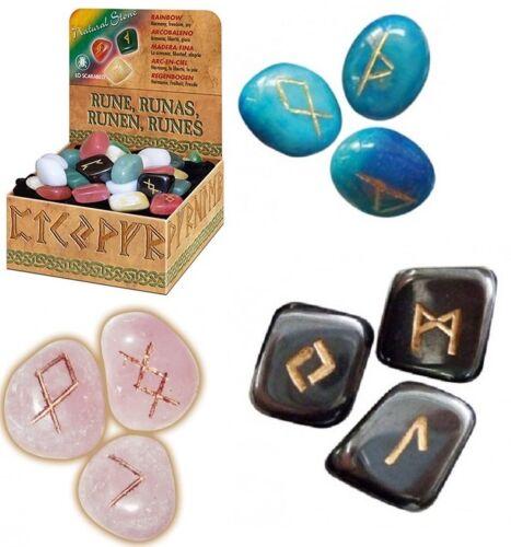 Rainbow gemstone Viking Runes NEW Sealed 25 Engraved Stones Bag Instructions