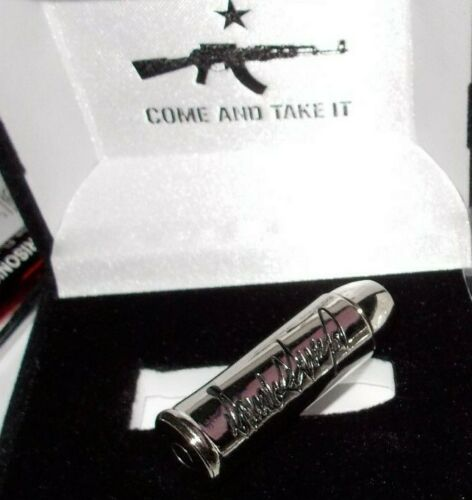 """COME AND TAKE IT"" Gun Bullet Donald J.Trump 45 Silver Black Metal 1.5*NEW*"