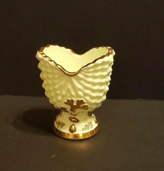 Vintage Northwood Argonaut Shell Nautilus Custard Glass Toothpick 22K Gold