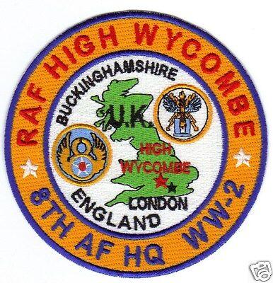 USAF BASE PATCH, RAF HIGH WYCOMBE, BUCKINGHAMSHIRE ENGLAND, 8TH AF HQ, WW-2    Y