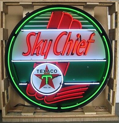 "Giant Texaco Sky Chief 3 Ft. 36"" Round Neon Sign 9TXSKY w/ Free Shipping"