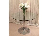 John Lewis glass and chrome circular dining table