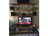 Habitat Oak and Metal Shelving/TV Unit