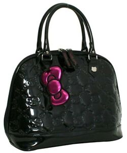 Loungefly HELLO KITTY BLACK Embossed Patent Bag purse Handbag Tote Satchel