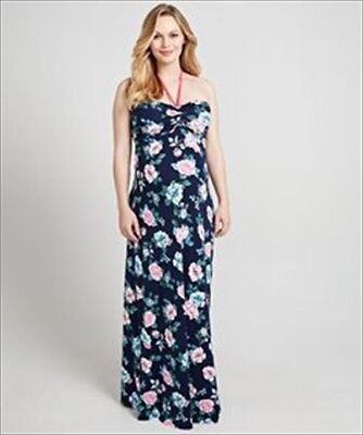 MOTHERCARE BLOOMING MARVELLOUS MATERNITY PRINTED ROSE MAXI HALTERNECK DRESS 14