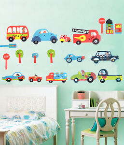 Transport-Cars-Fire-Engine-Bus-Traffic-Kids-Wall-Stickers-Art-Decal-Paper-Decor