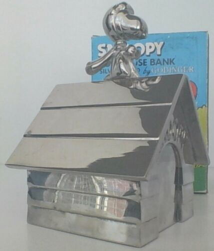 Vintage Peanuts Snoopy Flying Ace Godinger Silver Plate Bank Rare Excellent Con.