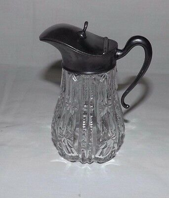 Small Vintage Cut Glass Pitcher with Pewter-Like Cover and Handle