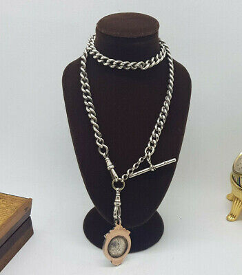 ANTIQUE SOLID SILVER ALBERT POCKET WATCH CHAIN WITH FOB & T-BAR 66.5 G.