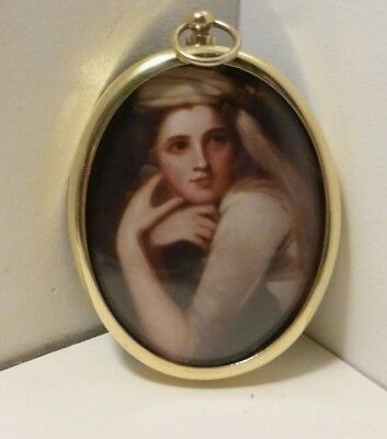 Miniature Portrait of Emma Hamilton wearing a turban in an oval brass bezel