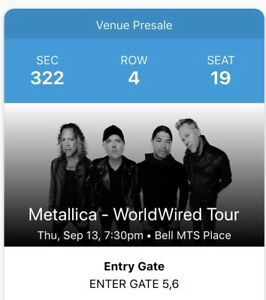 Two METALLICA Tickets