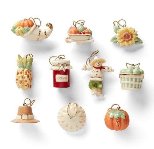 LENOX AUTUMN FAVORITES 10 miniature Tree Thanksgiving Ornaments set NEW in BOX