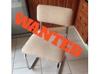 Wanted glass table 6 S bend chairs