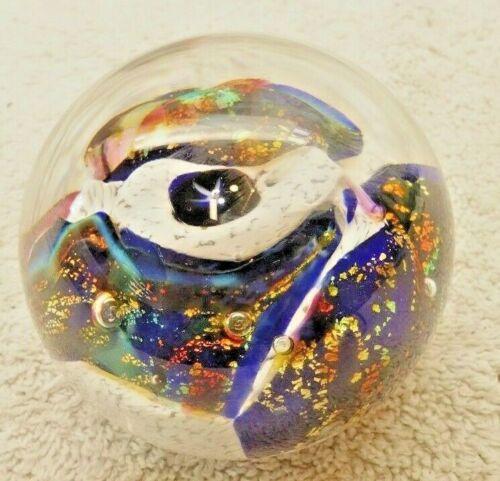ROBERT HELD SIGNED ART GLASS PAPERWEIGHT BLUE SWIRLS