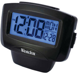 Westclox Easy-to-Read LCD Alarm Clock Black Plastic Case 72020