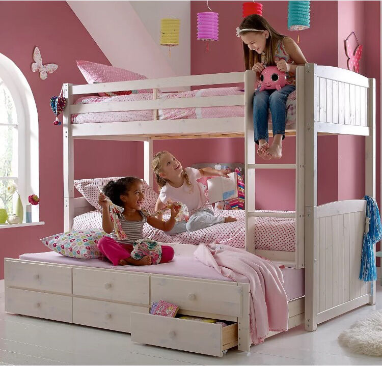 Triple Bunk Bed Pull Out Trundle Bed With Storage Drawers
